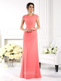 A-Line/Princess Bateau Short Sleeves Floor-Length Chiffon Dress