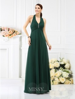 A-Line/Princess Halter Sleeveless Beading Floor-Length Chiffon Bridesmaid Dresses
