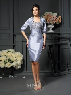 Sheath/Column Sleeveless Sweetheart Knee-length Taffeta Mother of the Bride Dress