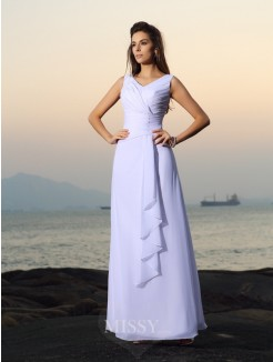 A-Line/Princess V-neck Chiffon Sleeveless Beading Pleats Floor-length Wedding Dresses
