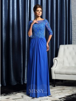 A-Line/Princess 1/2 Sleeves Bateau Floor-Length Beading Applique Chiffon Mother of the Bride Dress