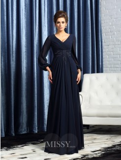 A-Line/Princess V-neck Long Sleeves Chiffon Floor-Length Beading Mother of the Bride Dress