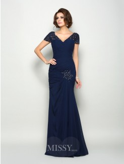 Trumpet/Mermaid Short Sleeves V-neck Chiffon Floor-Length Beading Mother of the Bride Dress