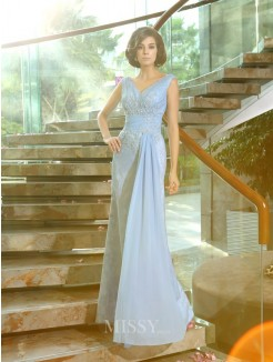 Sheath/Column Sleeveless V-neck Lace Beading Applique Floor-Length Mother of the Bride Dress