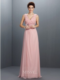 A-Line/Princess Sleeveless V-neck Beading Sweep/Brush Train Chiffon Dress