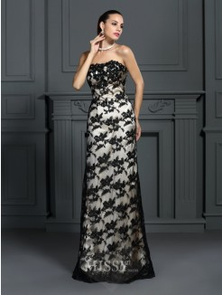Sheath/Column Strapless Sleeveless Lace Sweep/Brush Train Elastic Woven Satin Dresses