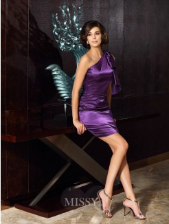 Sheath/Column Sleeveless One-Shoulder Knee-Length Elastic Woven Satin Mother of the Bride Dress