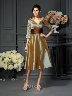 A-Line/Princess 3/4 Sleeves V-neck Taffeta Tea-Length Mother of the Bride Dress