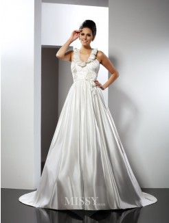 A-Line/Princess Halter Sleeveless Hand-Made Flower Chapel Train Satin Wedding Dresses