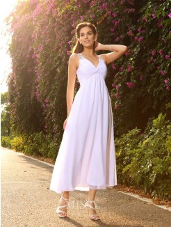 A-Line/Princess Sleeveless V-neck Ankle-Length Chiffon Beading Wedding Gown