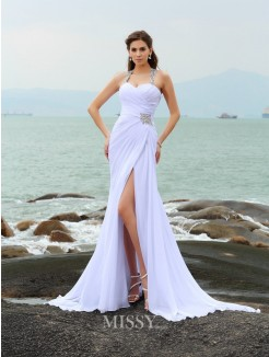 Sheath/Column Sleeveless Chiffon Straps Chapel Train Beading Wedding Gown