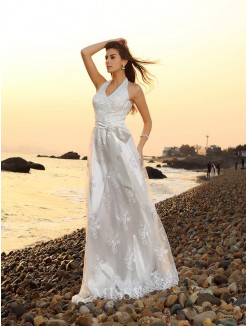 A-Line/Princess Sash/Ribbon/Belt Halter Sleeveless Lace Chapel Train Wedding Dresses