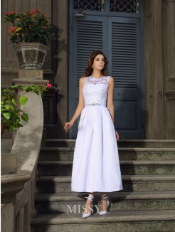 A-Line/Princess Bateau Ankle-Length Sleeveless Satin Applique Wedding Dress