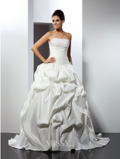 Ball Gown Strapless Sleeveless Cathedral Train Satin Wedding Dresses