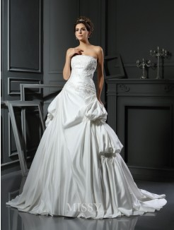 Ball Gown Strapless Satin Applique Chapel Train Sleeveless Wedding Dresses