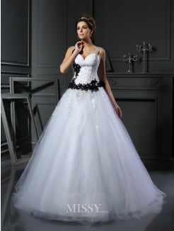 Ball Gown Straps Sleeveless Tulle Applique Chapel Train Beading Wedding Gown