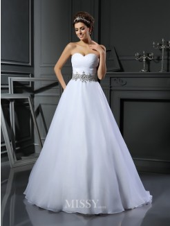 Ball Gown Sleeveless Sweetheart Satin Beading Court Train Wedding Dresses