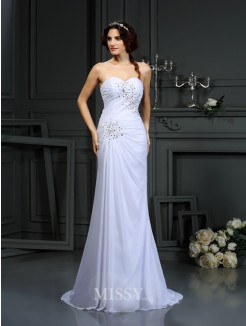 Sheath/Column Sleeveless Sweetheart Beading Chiffon Sweep/Brush Train Wedding Dresses