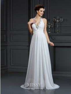 A-Line/Princess Halter Beading Sleeveless Court Train Chiffon Wedding Dress