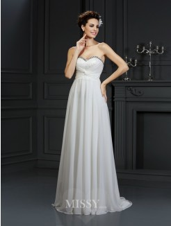 A-Line/Princess Sleeveless Sweetheart Ruffles Chapel Train Chiffon Wedding Dress
