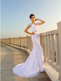 Sheath/Column Sleeveless Beading V-neck Court Train Chiffon Wedding Dress