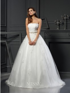 Ball Gown Sleeveless Strapless Net Applique Court Train Wedding Dresses