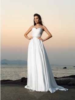A-Line/Princess Sleeveless Taffeta Sweetheart Chapel Train Beading Wedding Gown