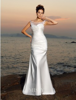 Trumpet/Mermaid Sleeveless Scoop Applique Beading Satin Sweep/Brush Train Wedding Dresses