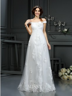 A-Line/Princess Off the Shoulder Sleeveless Court Train Applique Net Wedding Dresses