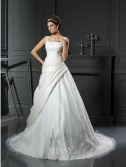 Ball Gown Sleeveless Satin Straps Chapel Train Applique Wedding Dress