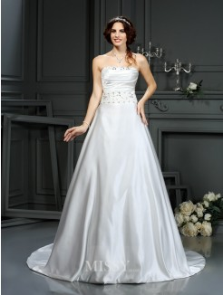 A-Line/Princess Strapless Sleeveless Beading Satin Court Train Wedding Dresses