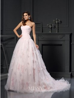 Ball Gown Sleeveless Sweetheart Satin Chapel Train Ruffles Wedding Dresses