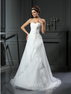A-Line/Princess Sleeveless Sweetheart Ruched Chapel Train Satin Wedding Dresses