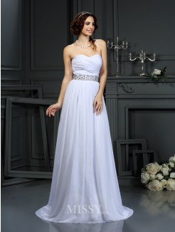 A-Line/Princess Sleeveless Sweetheart Beading Chiffon Court Train Wedding Dresses