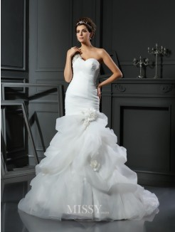 Trumpet/Mermaid Sleeveless Satin Chapel Train Ruffles Wedding Dresses