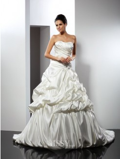 Ball Gown Sleeveless Sweetheart Cathedral Train Satin Wedding Dresses