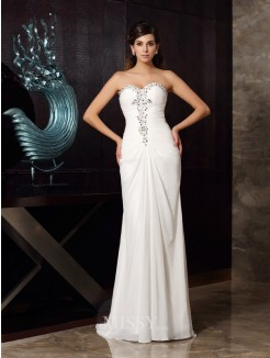 Trumpet/Mermaid Sleeveless Sweetheart Beading Sweep/Brush Train Chiffon Dress