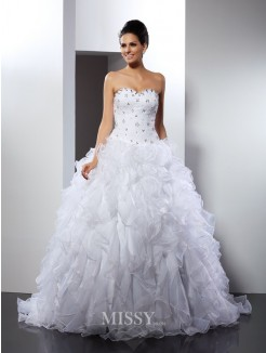 Ball Gown Sleeveless Sweetheart Ruffles Court Train Satin Wedding Dresses