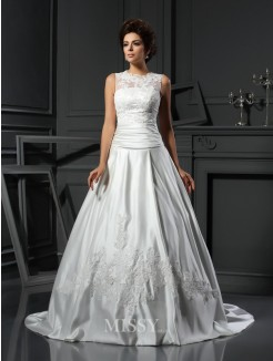 A-Line/Princess Sleeveless High Neck Chapel Train Satin Applique Wedding Dress
