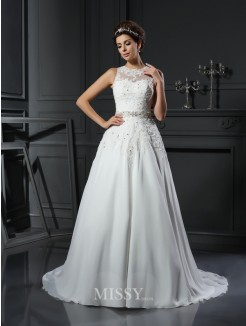 A-Line/Princess Sleeveless High Neck Satin Applique Chapel Train Beading Wedding Gown