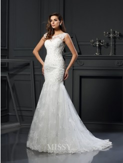 Trumpet/Mermaid Scoop Short Sleeves Tulle Chapel Train Applique Wedding Dress