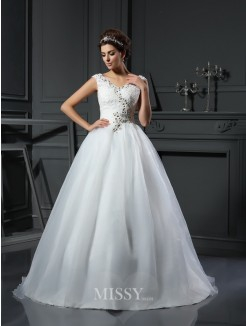A-Line/Princess Sleeveless V-neck Beading Organza Chapel Train Wedding Dresses