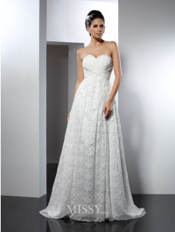 A-Line/Princess Sleeveless Sweetheart Sweep/Brush Train Satin Wedding Dresses