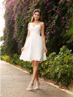 A-Line/Princess Sleeveless Knee-Length Spaghetti Straps Lace Wedding Dress