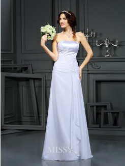 Sheath/Column Strapless Sleeveless Beading Chiffon Sweep/Brush Train Wedding Dresses