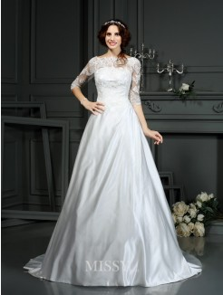 A-Line/Princess Bateau 1/2 Sleeves Lace Satin Court Train Wedding Dresses