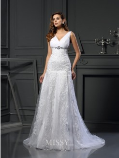 A-Line/Princess Sleeveless V-neck Satin Applique Chapel Train Beading Wedding Gown