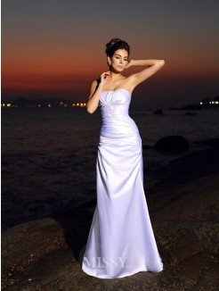 Trumpet/Mermaid Sleeveless Sweetheart Elastic Woven Satin Chapel Train Wedding Dresses