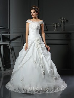 Ball Gown Sleeveless Off-the-Shoulder Hand-Made Flower Satin Chapel Train Wedding Dresses
