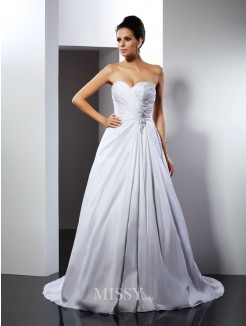 A-Line/Princess Sleeveless Sweetheart Ruffles Court Train Taffeta Wedding Dresses